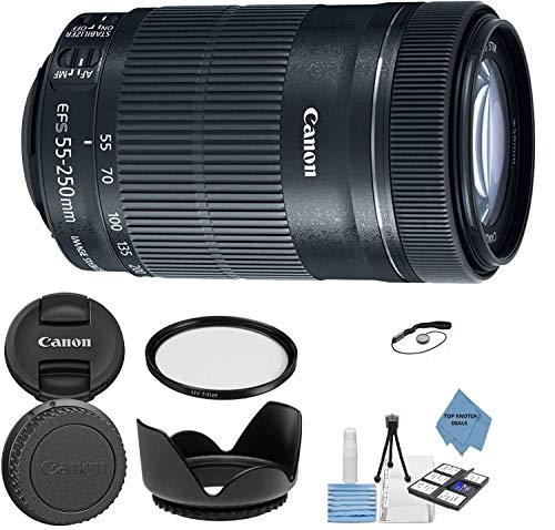Canon EF-S 55-250mm f/4-5.6 is STM Lens + UV Filter + Tulip Lens Hood + Lens Cap Keeper + Top Knotch Cloth…