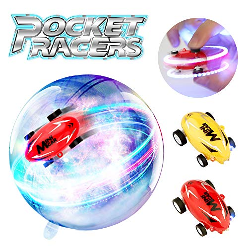 Growsland Mini High Speed Cars Micro Racer Toys, 2 Pack Spin Toys Rechargeable Stunt Race Cars with LED Light Novelty Stress Relief Toys Cars Gifts for Adults Kids Boys Girls