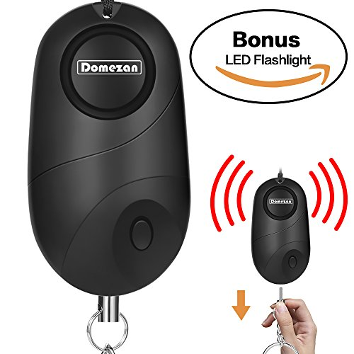 DOMEZAN Personal Alarm, 130dB Emergency Self Defense Security Alarm Keychain for Kids Women Elderly Protection Batteries Included with LED Light Policeman Recommend ()