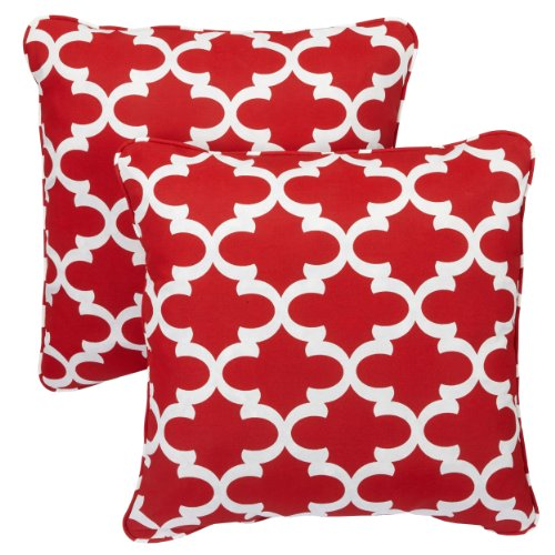 r/Outdoor 20-inch Corded Pillow, Scalloped Red, Set of 2 ()