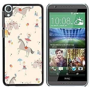 Design for Girls Plastic Cover Case FOR HTC Desire 820 Circus Horse Ballerina Kids Retro Beige OBBA