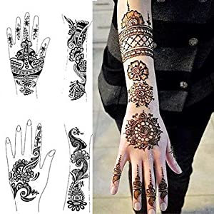 1Pcs Tattoo Templates Hands Feet Henna Stencils For Airbrushing Professional Mehndi New Body Painting Kit