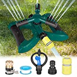 Kupton Lawn Sprinkler System, 360° Rotating Adjustable Sprinkler Head, 3-arm Sprayer Garden Sprinkler Irrigation System, Large Area Covering Up to 3600 Square Feet