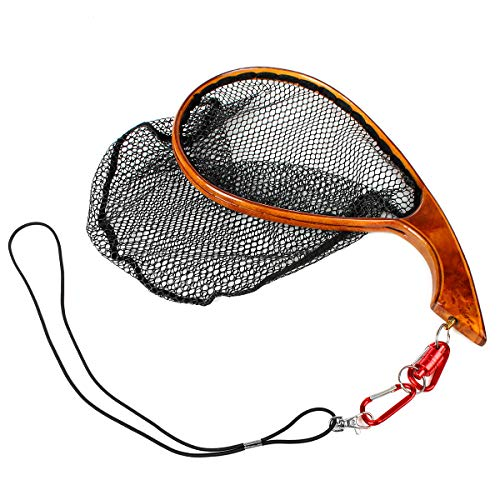 anding Trout Net Catch Release Net - Handmade Wooden Frame Soft Rubber Mesh Wood Grain Holder (Yellow - M - Size) ()