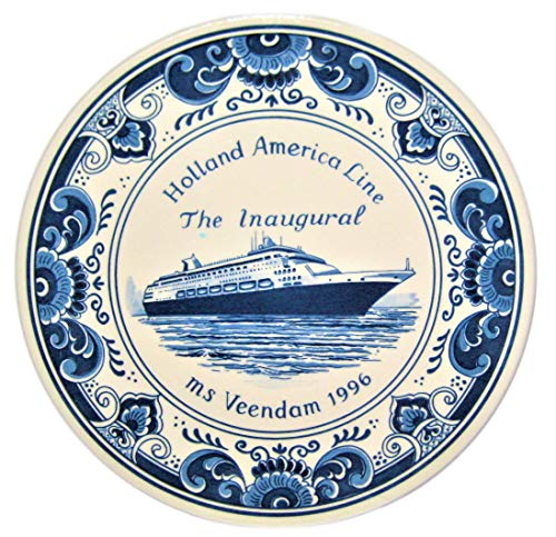 - Delft Royal Goedewaagen Blue Holland 9 1/2 Inch Porcelain Plate - Holland American Line The Inaugural MS Veendam 1996