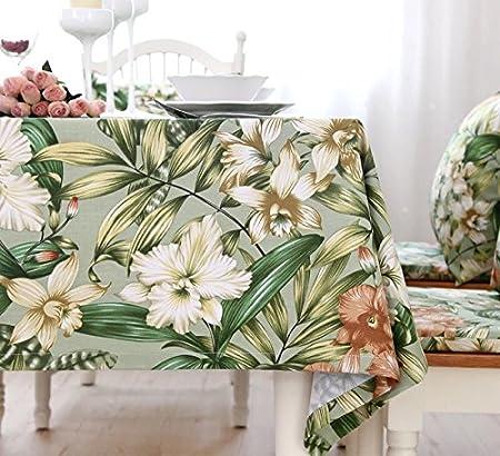 MSHIDA Hoja de bambú Flor algodón Engrosamiento Mantel jardín Planta de algodón y Lino Mantel de Tela Mantel 90 * 140 cm: Amazon.es: Hogar