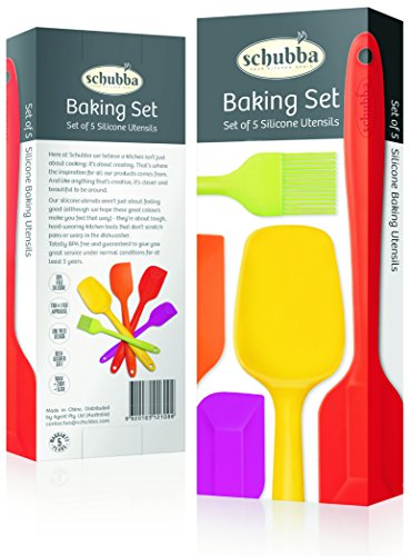 Schubba Premium Silicone Spatula Set of 5 Kitchen Utensils - Hygienic One-Piece Design