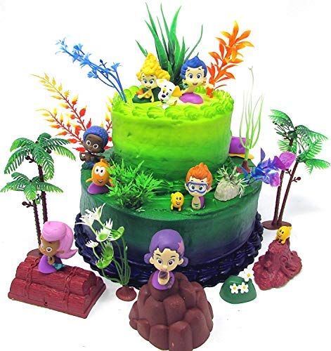 Bubble Guppies Birthday Cake Topper Set Featuring Figures and Decorative Themed Accessories by Cake Toppers
