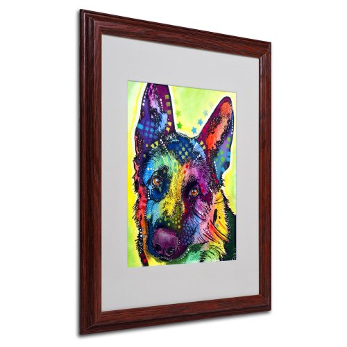 German Shepherd Matted Artwork by Dean Russo with Wood Frame, 16 by 20-Inch