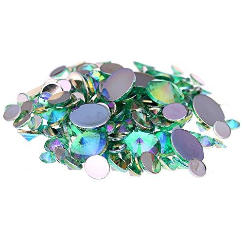 Nizi Jewelry Acrylic Rhinestones Round Flatback Pointed Light Green AB Color (Mixed Sizes 300pcs)