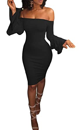 9ce3ceede7 Abetteric Womens Fall Sexy Off Shoulder Flared Sleeve Party Midi Dress Black  XS