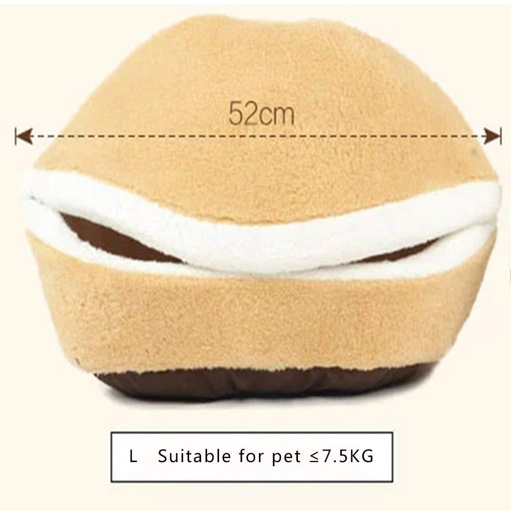 Medium Dogs Beds Furniture Bed Blankets Pet Supplies, pet Bed, cat Litter, Kennel, Hamburger pet nest, Detachable, Windproof, Warm, pet Litter, cat House, Dog House (Size   M)