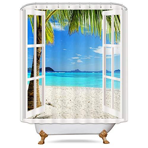 (Riyidecor Ocean Island Panoramic View Shower Curtain Seaside Tropical Palm Tree Coast Beach Sea Island Wooden Windows Decor Fabric Set Polyester Waterproof Fabric 72x72 Inch With 12 Pack Plastic Hooks )