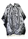 Del Mex Authentic Mexican Poncho Cobija Gaban Blanket -Black & White (Virgin Guadalupe)