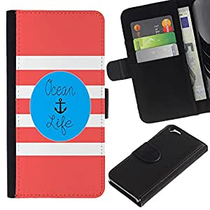 EJOY---La carpeta del tirón la caja de cuero de alta calidad de la PU Caso protector / Apple Iphone 6 / --La vida color de rosa del ancla Blue Marine
