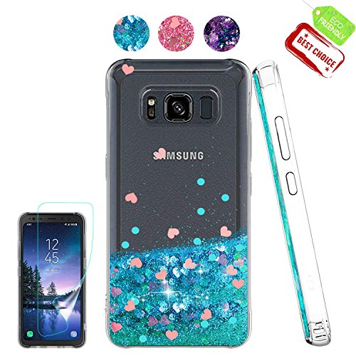 Galaxy S8 Active Case with [HD Screen Protector] for Girl, Atump Cute Glitter Quicksand Liquid Floating Flowing Sparkle Bling Luxury Clear Soft Woman Case for Samsung Galaxy S8 Active Blue