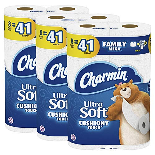 Charmin Ultra Soft Cushiony Touch Toilet Paper, 24 Family Mega Rolls (Equal to 123 Regular Rolls)