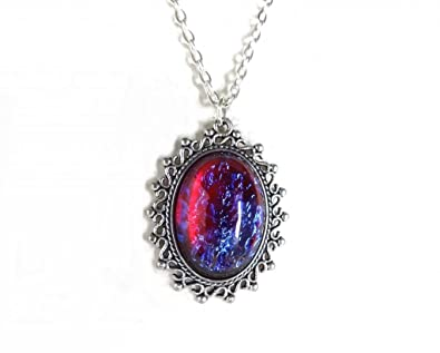 Amazon mexican opal dragons breath fire glass amulet pendant mexican opal dragons breath fire glass amulet pendant color changing necklace in antique silver charm aloadofball Choice Image