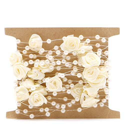 Wrisky 5M Satin Rose Flower Faux Pearl String Bead Garland Wedding Table Decoration DIY (Mother Of Pearl Flower Beads)