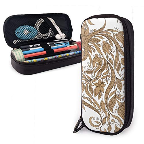 Leaves Aquarius Leather Pencil Case Made of High-Grade PU Leather,Elastic Band Fixation,Portable Design,Convenient