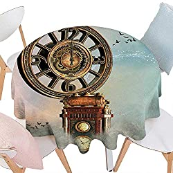 cobeDecor Fantasy Dinning Round Tabletop DecorMagical Enchanted Landscape Big Antique Clock Flying Birds Fairytale Round Table Cover for Kitchen D70 Pale Blue Brown Pink