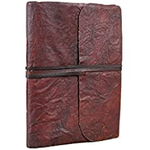 """Crushed Leather Journal Blank Unlined Antique Vintage Sketchbook Diary Notebook with Strap Tie 6"""" X 8"""""""