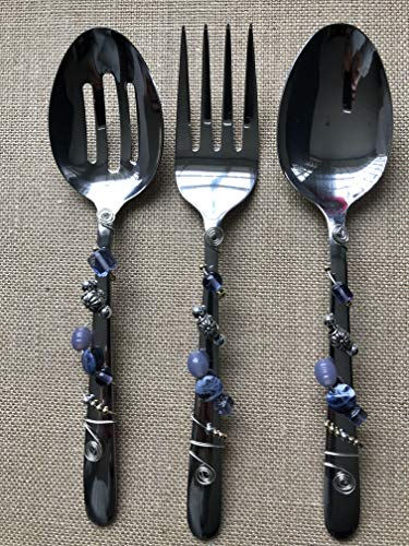 Beautiful Set of Beaded Serving Utensils including Serving Fork, Serving Slotted Spoon, and Serving - Amp Sprocket