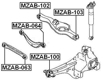 Oem Mazda Arm Bushing For Rear Rod Febest Eh44-28-350