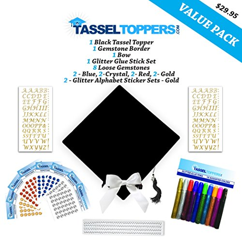 Tassel Toppers Graduation Cap Decorating Kit - Black- Do It Yourself Grad Cap Decorations -