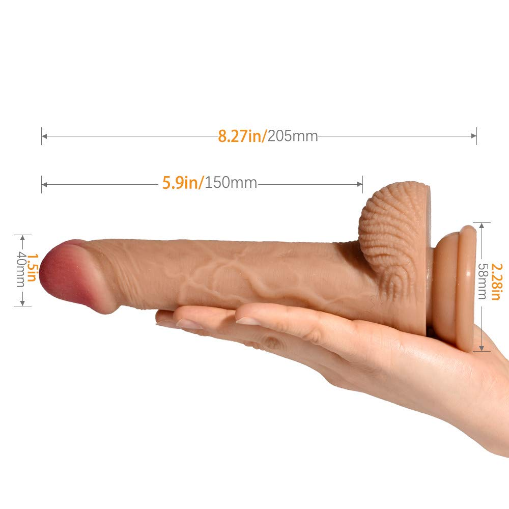 Realistic Dildo Feelingirl 8.27inch Lifelike Silicone Huge Penis 360° Rotation Flexible Real Dong Woman Anal Sex Toys with Suction Cup