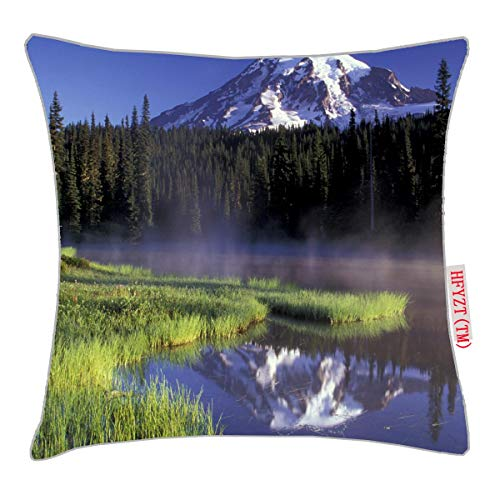 NBTJZT N.A, USA, Washington, Mt. Rainier National 5 Pillow Cover Standard Throw Pillowcase 18X18 Inch