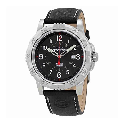 Mens Expedition Black Dial (Timex Expedition Black Dial Black Leather Mens Watch T49988)
