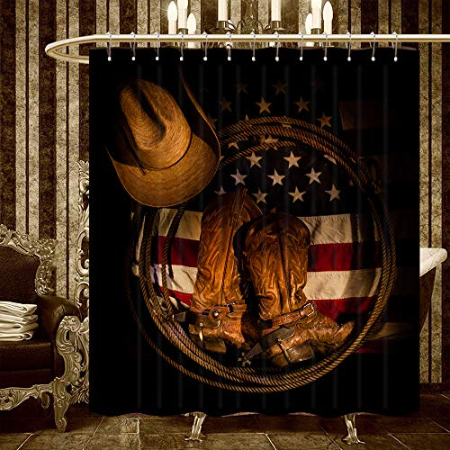 (JAWO Western Decor Shower Curtain, Western Cowboy Boots on USA Flag Bathroom Curtains Polyester Fabric Waterproof Bath Decor Hooks Included 69x70inches)