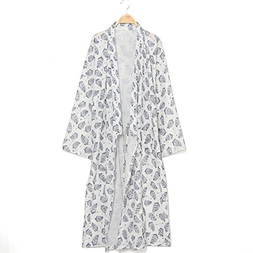 Men Japanese Bathrobe Kimono Yukata Pajamas Cotton Soft Sleepwear Robe Gown Nightwear ()