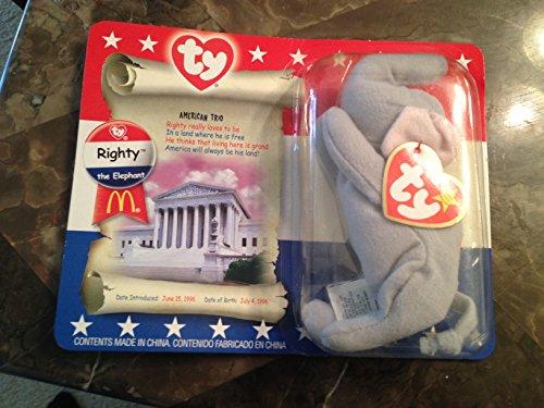 TY Teenie Beanie Baby Righty the Elephant Stuffed Animal Plush Toy - 5 inches long