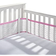 Breathable Baby 12415 Crib Liner, Grey/Pink Chevron