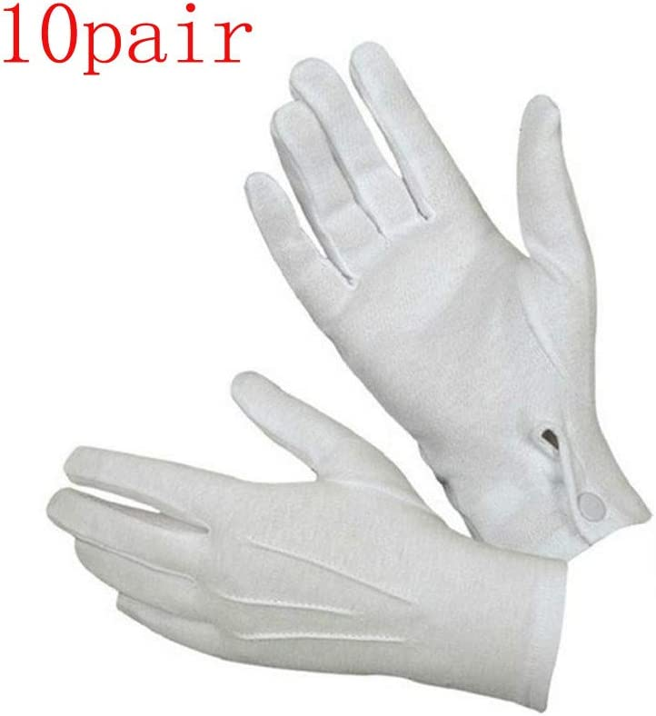 White 1Pair YunZyun White Formal Gloves Tuxedo Honor Guard Parade Santa Men Inspection Cotton Costume with Snap Cuff Silver