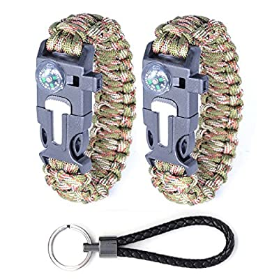 KOOCO Outdoor Survival Kit Parachute Cord Buckle W Compass Flint Fire Starter Whistle Scraper for Hiking Camping Emergency 2 PCS