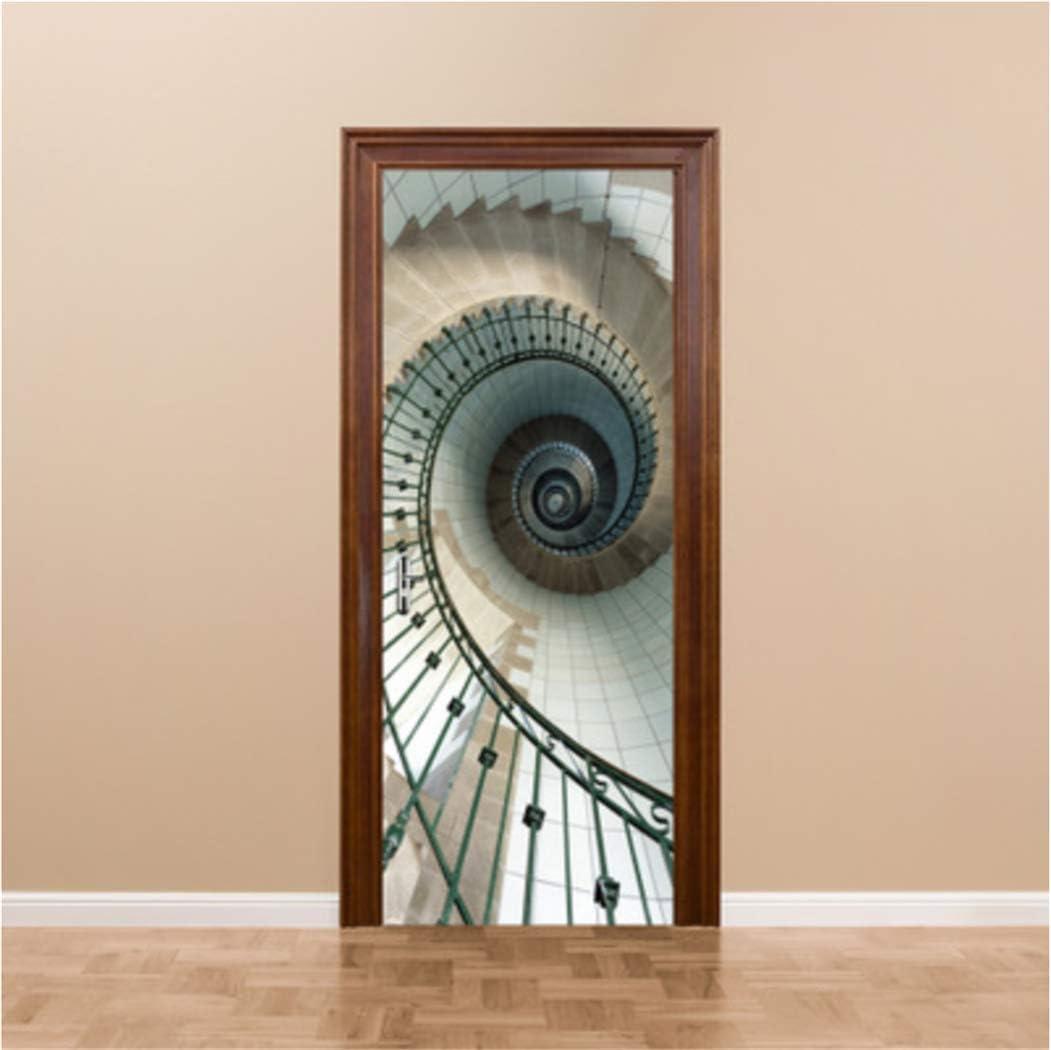 3D Pegatina de Puerta,Escalera de Caracol Tridimensional,DIY Papel Autoadhesivo Puerta Mural Etiqueta Art Decals 95x215 cm: Amazon.es: Hogar