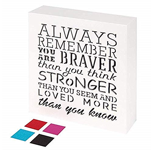 KAUZA Always Remember You are Braver Than You Think - Inspirational Gifts Positive Wall Plaque Pallet Saying Quotes for Birthday - Presents for Mom Sister Grandma 5.5 x 5.5 Inch ()