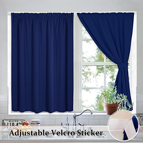 Home Interior Decor - RYB HOME Portable Blackout Window Shutters Interior Décor Room Darkening Velcro Cost Saving Curtain Shade Drapes for Bathroom with 2 Same Color Tiebacks, Each Panel Measures 40