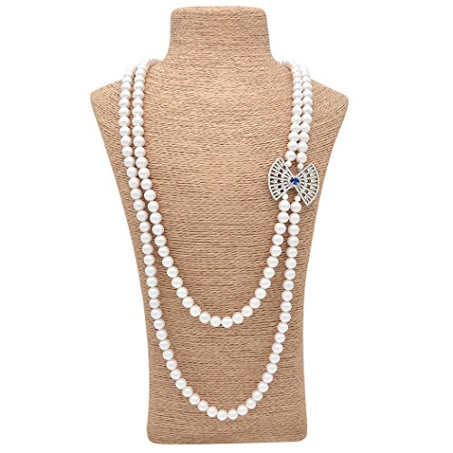 Wild Wind (TM) Valentine's Elegant Lady Muilt Strands Shell Pearl Necklaces (Silver Sector)