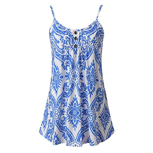 QueenMM Women's Sleeveless Swing Tunic Summer Floral Flare Tank Top Spaghetti Straps Henley Neck Casual Tops Blue