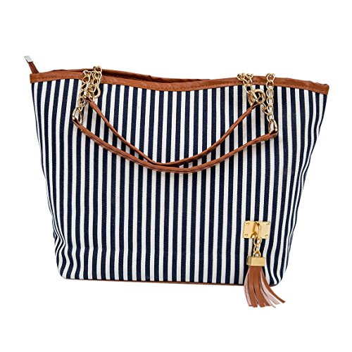 Candid R Tote Street Stripe New TOOGOO Canvas Design Snap Women Bag Handbag Blue Fashion Single Shoulder 8HdqqYzw