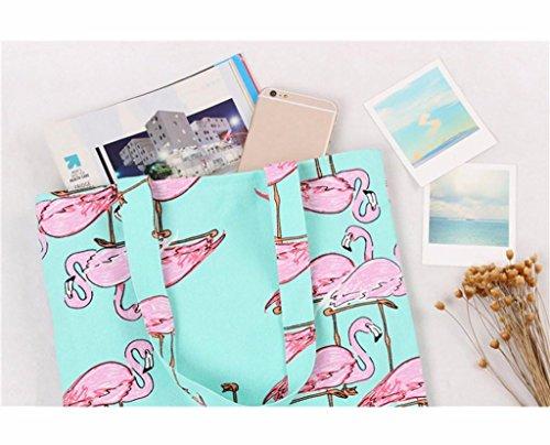 Saingace Frauen-Flamingos-Schulter-Beutel-Rucksack-Einkaufstasche-Spielraum-Beutel Schultertasche Freizeitrucksack Tasche Rucksäcke