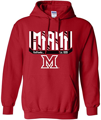 NCAA Miami (Ohio) Redhawks Bars & Stripes Hooded Sweatshirt, Large,Red (Miami Basketball)