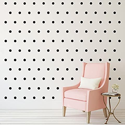 """Black Polka Dots Wall Decals (2""""- 210 Decals) Removable Peel And Stick Matte Finish Vinyl Décor Stickers. 3 Sheets of 2 Inch Circles. For Home, Kitchen, Living Room, Bedroom, And Nursery. - Polka Dots Teen Bedroom"""