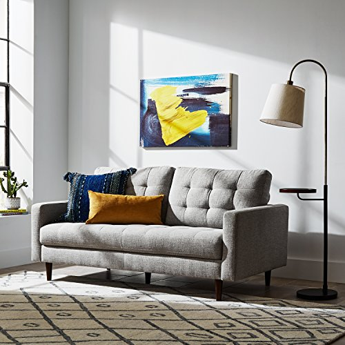 """Rivet Franklin Living Room Standing Floor Lamp and Shelf with USB Charging Port and Light Bulb, 65""""H, Metal and Wood"""