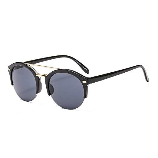 fbca9d116d Amazon.com  SUERTREE Round Sunglasses Vintage Double Bridge UV400 Women Men  Shades Fashion Eyewear JH9022  Clothing
