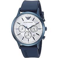 Emporio Armani Men's 'Renato' Quartz Stainless Steel and Rubber Casual Watch, Color:Blue (Model: AR11026)